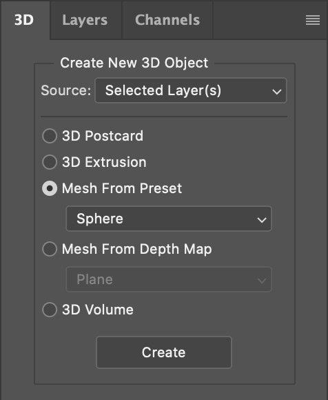 Photoshop 3D Panel