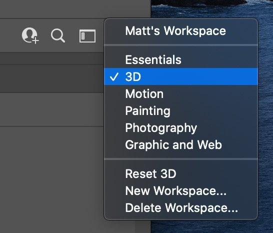 Photoshop 3D Workspace